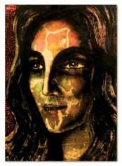 FARNESE DE ANDRADE (1926 - 1996) Rosto feminino - Nanquim encerado s/ cartão - 69 x 50 cm - ass. superior esquerdo 1972.