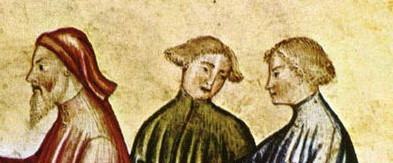 Two young men with short hair. A older man with a beard and a soft hat, what looks like a chaperon, late 1300