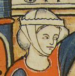 Lady wearing the barbette and a chin band over a cap or coif. c. 1280