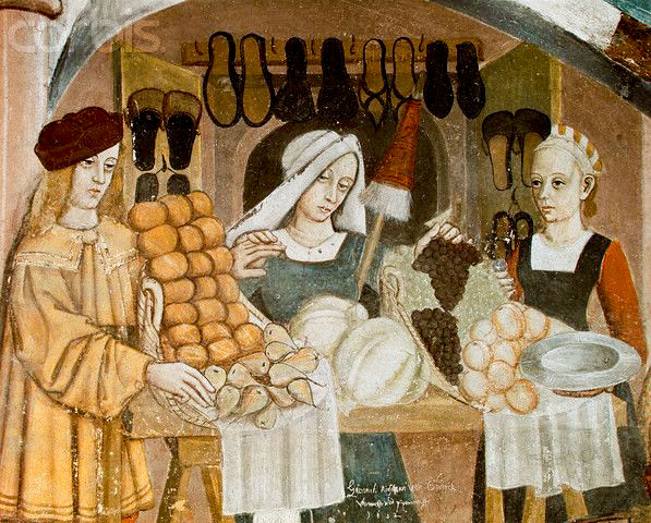 Marked stall selling food and shoes. 1400's - Paintings from Issogne castle, Italy