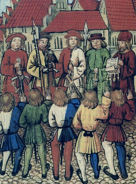 A good example of the fashion of split colored clothing. Men in tunics and hose. Notice the pleating in the back of the tunics. c. 1460-1515