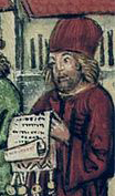 Man in a tall red hat reading a scroll, c. 1460-1515