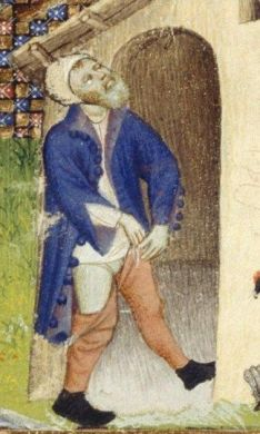 Notice the bottoms on the jacket. He is wearing braies, a shirt and chausses under his jacket. He is also wearing a coif and black shoes. c. 1413
