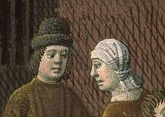 Man wearing a high black hat with a brim and woman in a head wrap, c. 1475