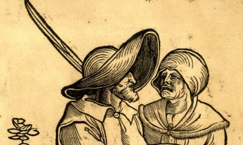 Two peasants. He is wearing a very wide brimmed hat with a feather, while she wears some kind of soft hat. 1521