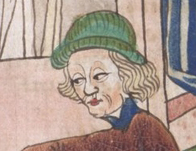 A man making shifts. A man making hats. One making belt pouches. A man looking at a hat. They look to be felt hats. Schachzabelbuch--Cod.poet.et.phil.fol.2. Konrad van Ammenhausen; Hagenau; 1467; 203r.