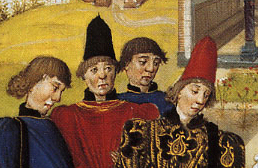 High felt hats and short bowl-cut hair. Italy, c. 1470.