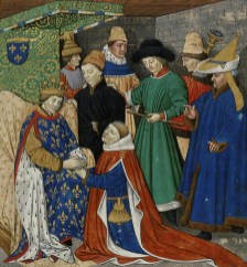 Hats in a variety of styles are also worn by this group of French noblemen in high-collared overgowns lined with fur, c. 1470.