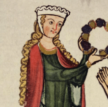 Woman presenting a chaplet wears a linen barbet and fillet headdress. c. 1305–1315.