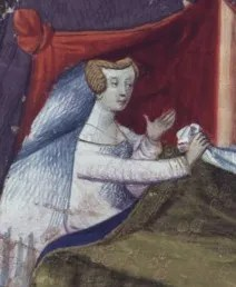 Woman in bed wearing her chemise, early 1400