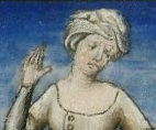 Woman in a messy head dress
