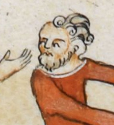 Beared man with a high forehead and wavy curly hair, c 1300 - 1340