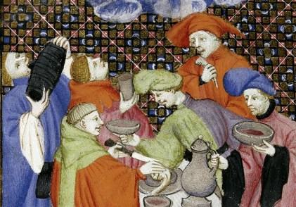 Men feasting wearing big baggy hats or hoods. Notice the bowl cut hair. c. 1413