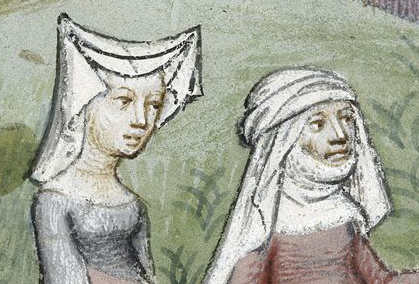 """The lady on the left wears a wired """"horned"""" headdress with a veil. While the other woman is wearing a veil and wimple. Notice how the veil is wrapped around her head. c. 1413"""