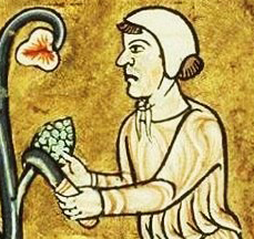 Wine peasant in a simple coif, c 1180