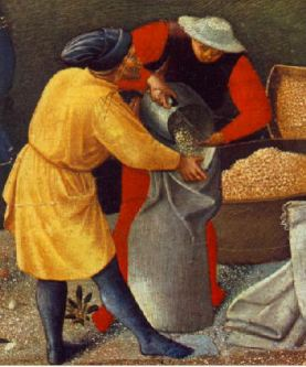 Workmen on a dock wear short overgowns with hats, 1437