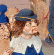 Bearded man in a bycoket with chin long hair, 1479