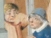 Men talking. One is bare headed and the other is wearing a cylinder hat. 1479