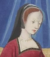 Black veil worn over a cap or a cap with veil(?), c. 1496-1498