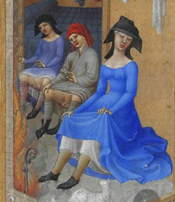 """""""February"""" (detail) - Illumination on vellum from the """"Très Riches Heures du Duc de Berry"""", between 1412 and 1416"""
