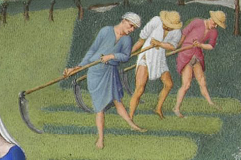 Peasants harvesting hay in tunics and shirts.