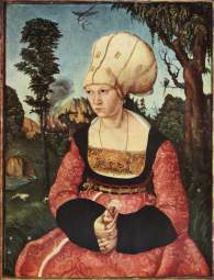 German fashion: Anna Cuspinian wears a rose-pink brocade gown with a high belt and black collar and cuffs with a large headdress 1502–03.