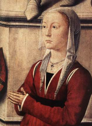 Woman wears a simple headdress of draped linen and a red gown trimmed with white fur. Note that the sleeve is only attached to the dress at the top, 1467–71.