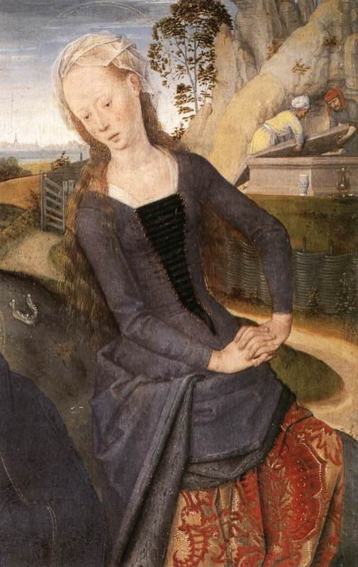 Mary Magdalene is portrayed in contemporary dress of 1480. The low front opening now laces over the kirtle or an inserted panel or plackard, and the gown is draped up to reveal the richer fabric of the kirtle skirt.