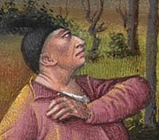 Peasent herding in the forset. He looks to be bold wearing a black skullcap, 1416