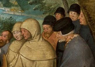 Black hatted men and a few munk like men, 1566