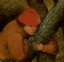 Man in a tree wearing a wear red hat, 1566