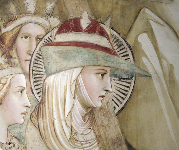 Woman in a bycocket, veil and wimple, c. 1380