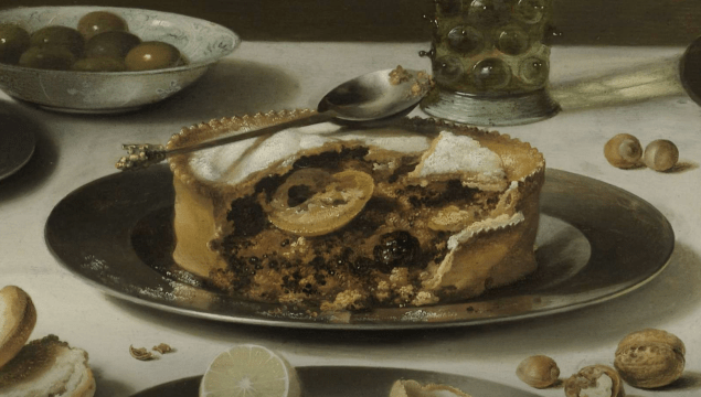 "Detail from the painting ""Still Life with a Turkey Pie"", Pieter Claesz., 1627. Here we have some kind of fruit pie with what looks like blackberries."
