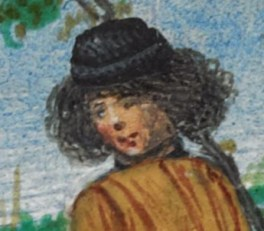 Young man with a wild chin length hair under a small black hat, c. 1485-1490