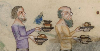 Servers, both beared and bare headed. They both have chin length hair, c. 1325-1340