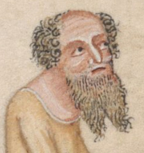 Older server with a beared seperated in two and a balding head and curly hair, c. 1325-1340