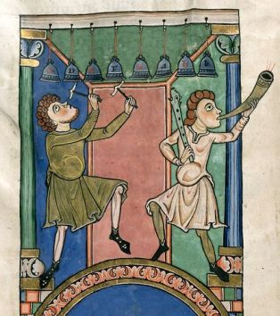 Musicians playing bells and a horn. 1100's