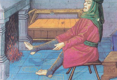 Man warming his feet at the fire. No foot chausses., late 1400's