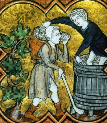 1270: portages of the grapes during the harvest. Two men both in tunics. One is also wearing a coif and a basket full of grapes. He wears short boats and his tunic got a slit up the front.