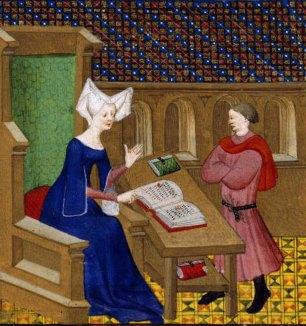 "Image of Christine de Pisan in a cotehardie. She wears a wired ""horned"" headdress with a veil. France, 1410–11"