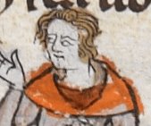 Man with a hood thrown back from his head. He looks have a short curly bang and chin length hair pushed back from his face, c 1300 - 1340