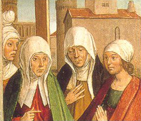 Women wearing veils and wimples of different sorts. They are not uniform. 1490