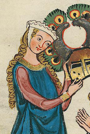 Lady with barbette & a chin band and two long braids, c. 1340