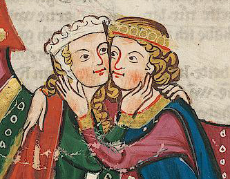 Lady with barbette & a chin band and a man with a circle around his chin length hair, 1340