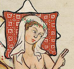 Lady in bed wearing a veil and a circle of plants, c. 1300 - 1340
