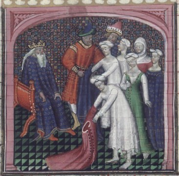 Dionysius I humiliates the women of Locri (fol. 98v) in De casibus (BNF Fr. 226), first quarter of the 15th century
