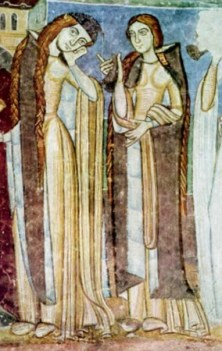 """Two """"vigins"""" with very long hair. Bliaut, 1100's"""