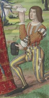 Man in a waist length doublet and joined hose tied to his doublet. His sleeves are fitted and tied on to let his smock show though. Late 1490-early 1500's