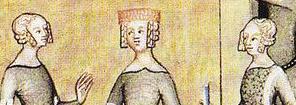 Ladies with braided hair, c. 1350