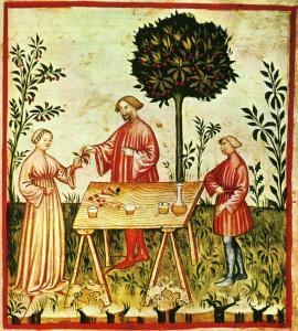 Alimenti: vino bianco, dal Taccuino Sanitatis, Manoscritto Casanatense 4182